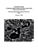 Feasibility Study of Raising Water Levels on Coon Lake Anoka County, Minnesota