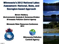 Minnesota's 2012 National Lakes Assessment: National, State, and Ecoregion-based Approach