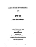 Lake Assessment Program 1994 - Pelican Lake, Pope County, Minnesota