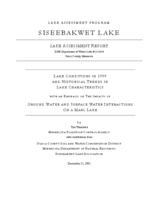 Lake Assessment Program - Siseebakwet Lake, Itasca County, Minnesota