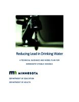 Reducing Lead in Drinking Water A TECHNICAL GUIDANCE AND MODEL PLAN FOR MINNESOTA'S PUBLIC SCHOOLS