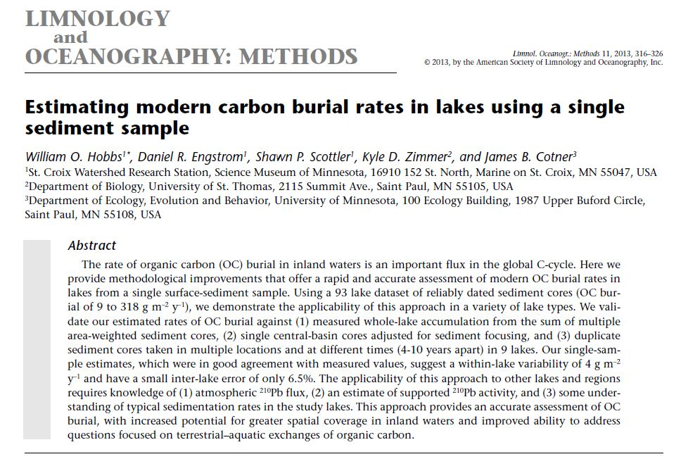 Estimating modern carbon burial rates in lakes using a single sediment sample