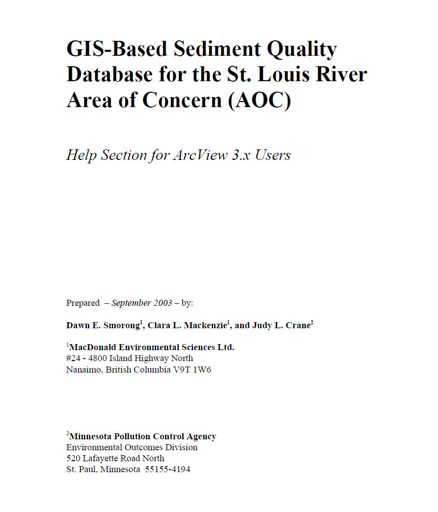 (Phase I) GIS-Based Sediment Quality Database for the St. Louis River Area of Concern (AOC) - Help Section for ArcView 3.x Users