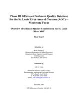 Phase III GIS-based Sediment Quality Database for the St. Louis River Area of Concern (AOC)—Minnesota Focus - Overview of Sediment Quality Conditions in the St. Louis River AOC