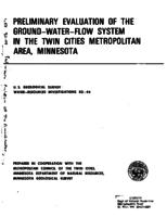 Preliminary Evaluation of The Ground-Water-Flow System in The Twin Cities Metropolitan Area, Minnesota