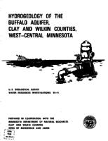 Hydrogeology of The Buffalo Aquifer, Clay and Wilkin Counties, West-Central Minnesota
