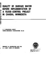 Quality of Surface Water Before Implementation of a Flood-Control Project in Chaska, Minnesota