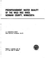 Preimpoundment Water Quality of The Wild Rice River, Norman County, Minnesota