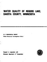 Water Quality of Rogers Lake, Dakota County, Minnesota