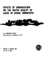 Effects of Urbanization on The Water Quality of Lakes in Eagan, Minnesota