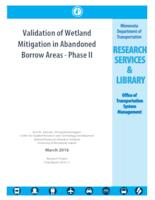 Validation of Wetland Mitigation in Abandoned Borrow Areas - Phase II