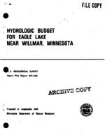 Hydrologic Budget For Eagle Lake Near Willmar, Minnesota