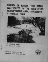 Quality of Runoff From Small Watersheds in The Twin Cities Metropolitan Area, Minnesota- A Project Plan