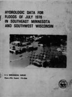 Hydrologic Data For Floods of July 1978 in Southeast Minnesota and Southwest Wisconsin