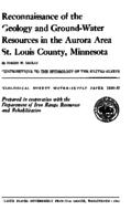 Reconnaissance of the Geology and Ground-Water Resources in the Aurora Area St. Louis County, Minnesota