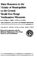 Water Resources in the Vicinity of Municipalities on the Central Mesabi Iron Range Northeastern Minnesota