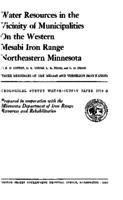 Water Resources in the Vicinity of Municipalities On the Western Mesabi Iron Range Northeastern Minnesota