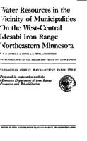 Water Resources in the Vicinity of Municipalities On the West-Central Mesabi Iron Range Northeastern Minnesota