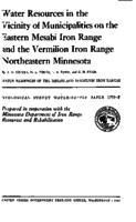 Water Resources in the Vicinity of Municipalities on the Eastern Mesabi Iron Range and the Vermilion Iron Range Northeastern Minnesota