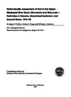 Water-Quality Assessment of Part of the Upper Mississippi River Basin, Minnesota and Wisconsin- Pesticides in Streams, Streambed Sediment, and Ground Water, 1974-94