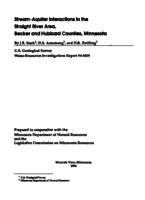 Stream-Aquifer Interactions in the Straight River Area, Becker and Hubbard Counties, Minnesota
