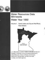Water Resources Data Minnesota Water Year 1992