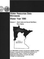 Water Resources Data Minnesota Water Year 1990