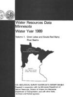 Water Resources Data Minnesota Water Year 1989
