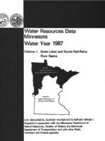Water Resources Data Minnesota Water Year 1987