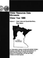 Water Resources Data Minnesota Water Year 1986
