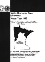 Water Resources Data Minnesota Water Year 1985