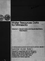 Water Resources Data for Minnesota Water Year 1980