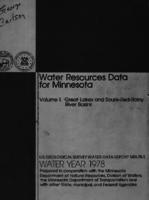 Water Resources Data for Minnesota Water Year 1978