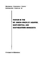 Radium In The Mt. Simon- Hinckley Aquifer, East-Central And Southeastern Minnesota