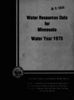 Water Resources Data for Minnesota Water Year 1975