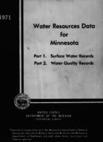 Water Resources Data for Minnesota, 1971