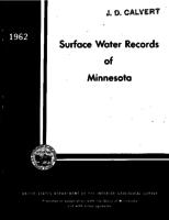 Surface Water Records of Minnesota, 1962