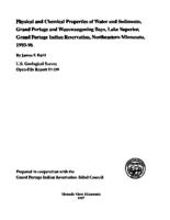 Physical and Chemical Properties of Water and Sediments, Grand Portage and Wauswaugoning Bays, Lake Superior, Grand Portage Indian Reservation, Northeastern Minnesota, 1993-96