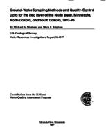 Ground-Water Sampling Methods and Quality-Control Data for the Red River of the North Basin, Minnesota, North Dakota, and South Dakota, 1993-95