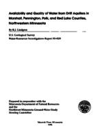 Availability and Quality of Water from Drift Aquifers in Marshall, Pennington, Polk, and Red Lake Counties, Northwestern Minnesota