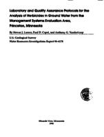 Laboratory and Quality Assurance Protocols for the Analysis of Herbicides in Ground Water from the Management Systems Evaluation Area, Princeton, Minnesota