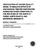 Verification of Water-Quality Model to Simulate Effects of Discharging Treated Wastewater During Ice-Cover Conditions to the Red River of the North at Fargo, North Dakota, and Moorhead, Minnesota