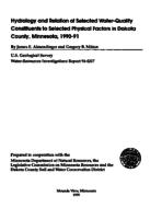Hydrology and Relation of Selected Water-Quality Constituents to Selected Physical Factors in Dakota County, Minnesota, 1990-91