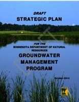 DRAFT Strategic Plan For The Minnesota Department of Natural Resources Groundwater Management Program