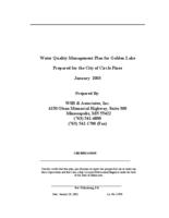 Water Quality Management Plan for Golden Lake Prepared for the City of Circle Pines
