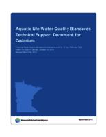 Aquatic Life Water Quality Standards Technical Support Document for Cadmium