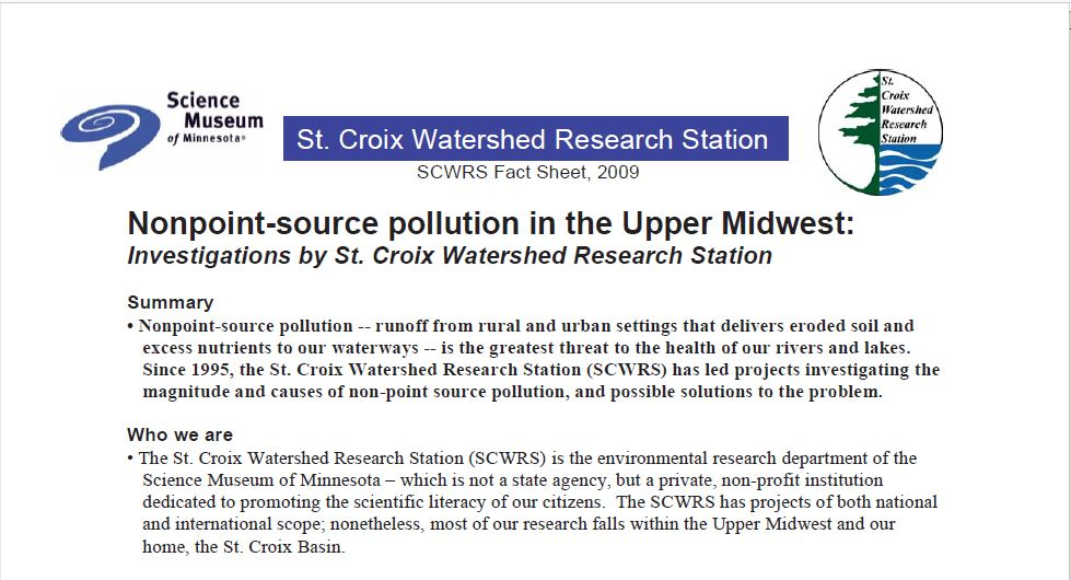 Nonpoint-Source Pollution in the Upper Midwest: Investigations by St. Croix Watershed Research Station