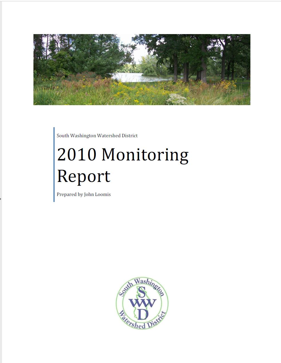 South Washington Watershed District 2010 Monitoring Report