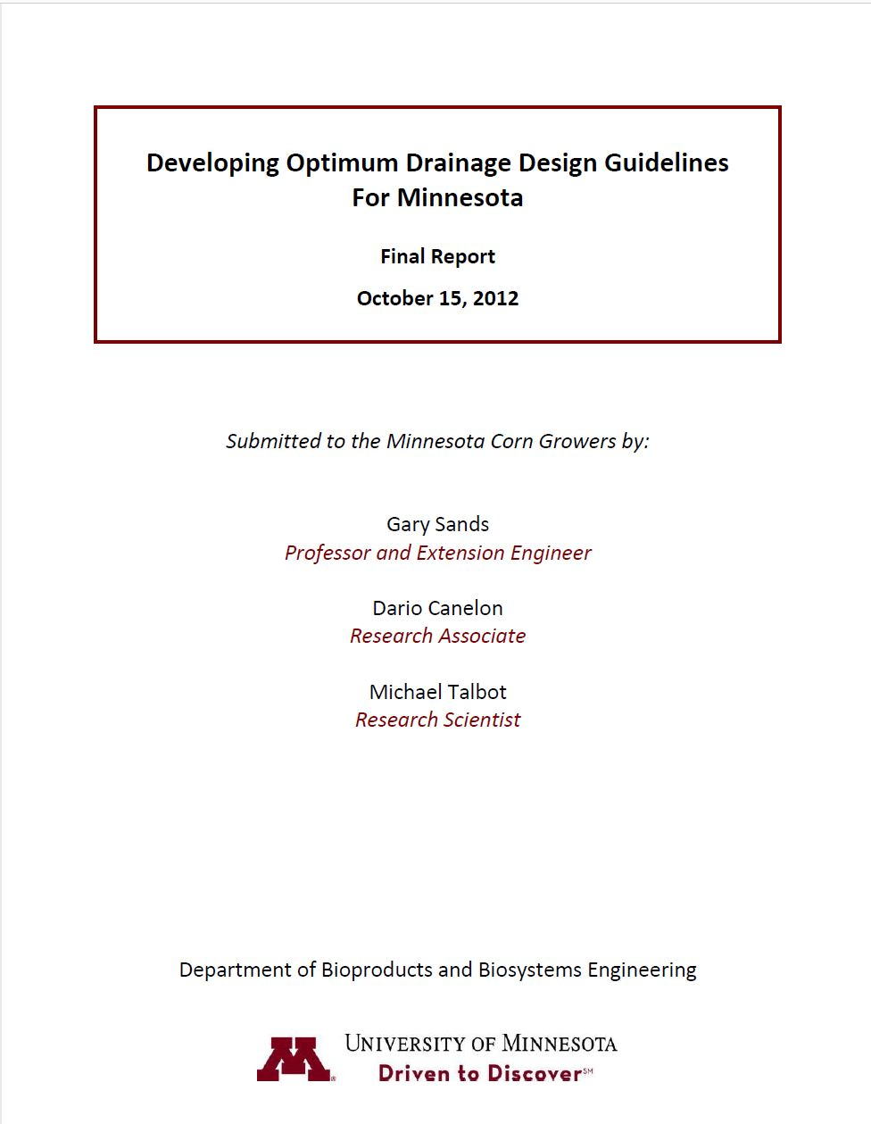 Developing Optimum Drainage Design Guidelines for Minnesota