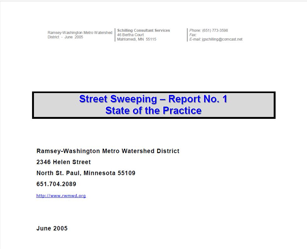 Street Sweeping - Report No. 1 State of the Practice